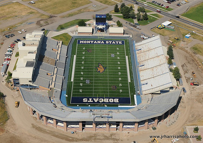 Montana State University Bobcat Stadium renovation almost complete. Aerial photo August 30th, 2011 by Jim R Harris Bozeman Montana Photographer