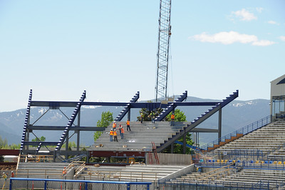 Photo of Montana State University Bobcat Stadium Construction Renovation 2011 of End zone. Photography by Jim R Harris Bozeman Photographer