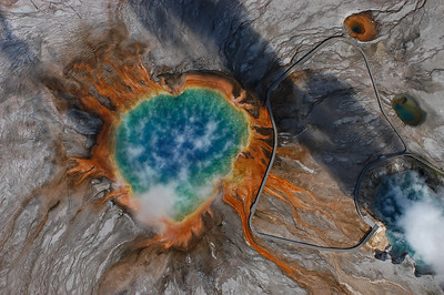 Aerial view of the Grand Prismatic Spring in Yellowstone National Park - - Photography by Jim R Harris