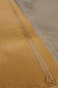Aerial view of partially harvested wheat field - Montana- Photography by Jim R Harris
