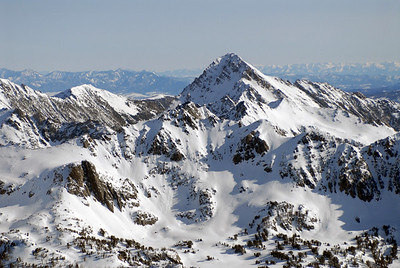Aerial photo of Spanish Peaks mountain range with the Bridger and Absaroka mountains off in the distance- Photography by Jim R Harris
