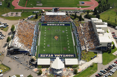 Aerial photo of Montana State University Bobcat Football Stadium - First home game 2010 - Photography by Jim R Harris