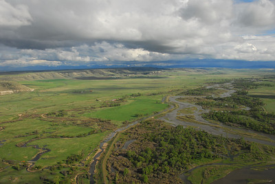 Aerial view of the Madison River Valley and Buffalo Jump area - Photography by Jim R Harris