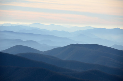 Layers of Blue Ridge Mountains are blue