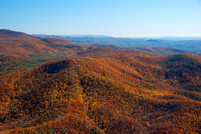 Fall foliage in Darnell Creek area and Warwoman area of Rabun County. Rabun Bald is to the extreme right