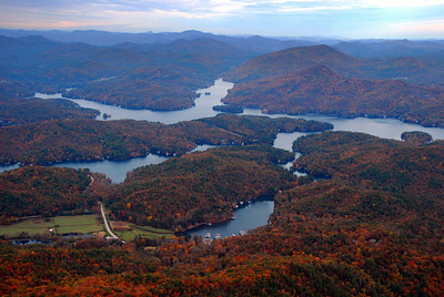 Lake Burton in fall color; Laprade's Marina visible in foreground