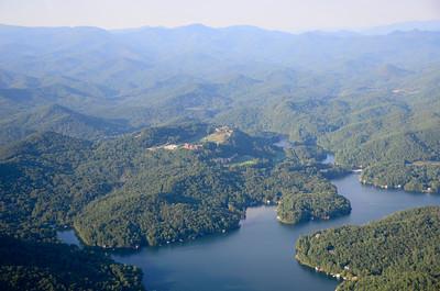 Lake Burton, Lake Burton Club, and surrounding mountains