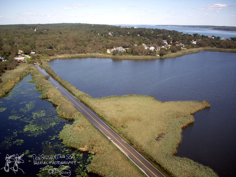 A flooded Bonnet Shores causeway post Irene.