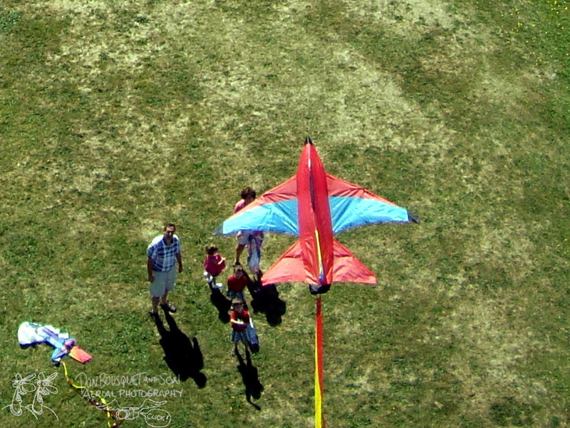 Looking down on a kite flying over Brenton Point State Park