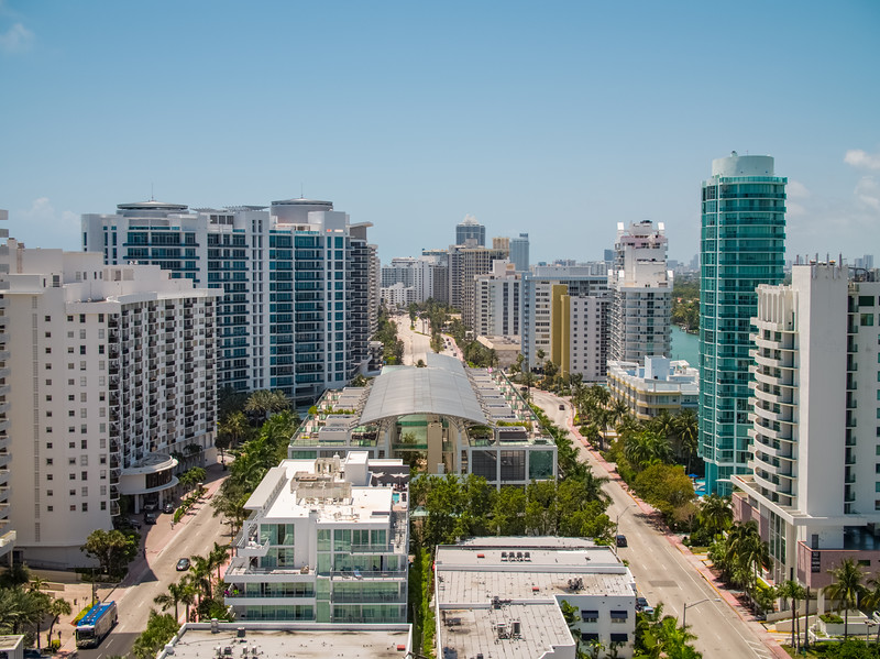 Aerial Miami Beach Collins Avenue southward view