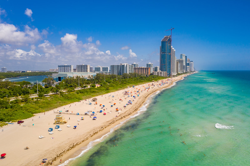Miami aerial Haulover Park beach scene
