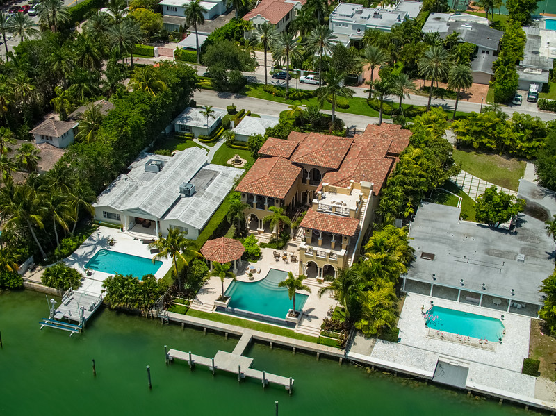 Aerial photo luxury Miami mansions