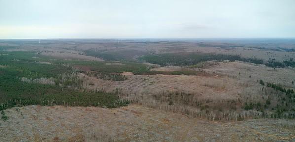 Aerial very large clear cut clearcut logging area site Cobequid Mountains Nova Scotia