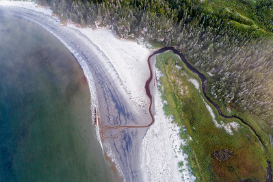 Aerial coastal coast and dune views along the coast of southwestern Newfoundland and Labrador
