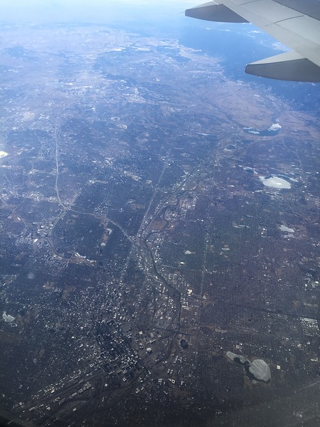 Another angle, with most of the same features visible. New in this photo is Sloan Lake, just west (right) of downtown Denver. You can see Marston Lake and Chadfield Lake more easily in this photo.