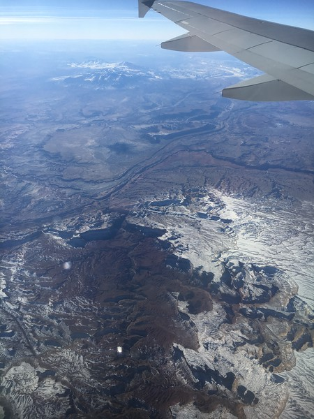 Caineville and Hanksville, Utah and the Henry Mountains (upper half of photo), Goblin Valley State Park just out of view on center-left, on American flight #615, Philly to SFO