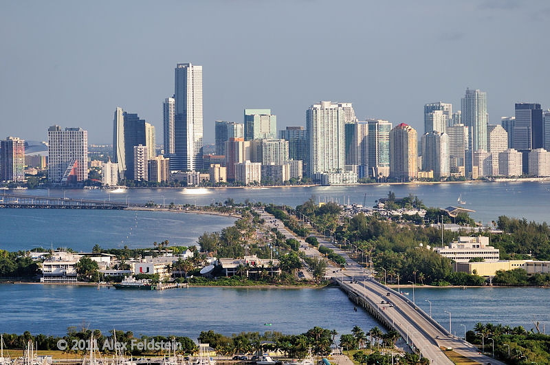 Miami with the Rickenbacker Causeway in front