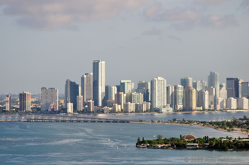 Miami's Brickell area with the Rickenbacker Causeway and Seaquarium in the forefront.