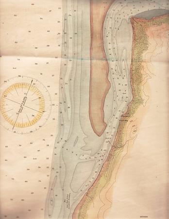 Hydrographic map of lower Nehalem Bay prepared by U S Coast Survey in 1891.