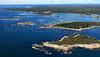 Cape Island, Trott Island, Goat Island, Cape Porpoise Harbor.  Kennebunkport, Maine.