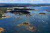 Green Island, Bass Island, Bickford Island, Cape Porpoise Harbor.  Kennebunkport, Maine.