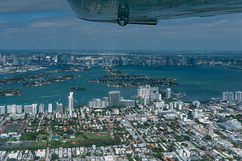 Miami Beach with Miami in the distance, through the Venetian Causeway