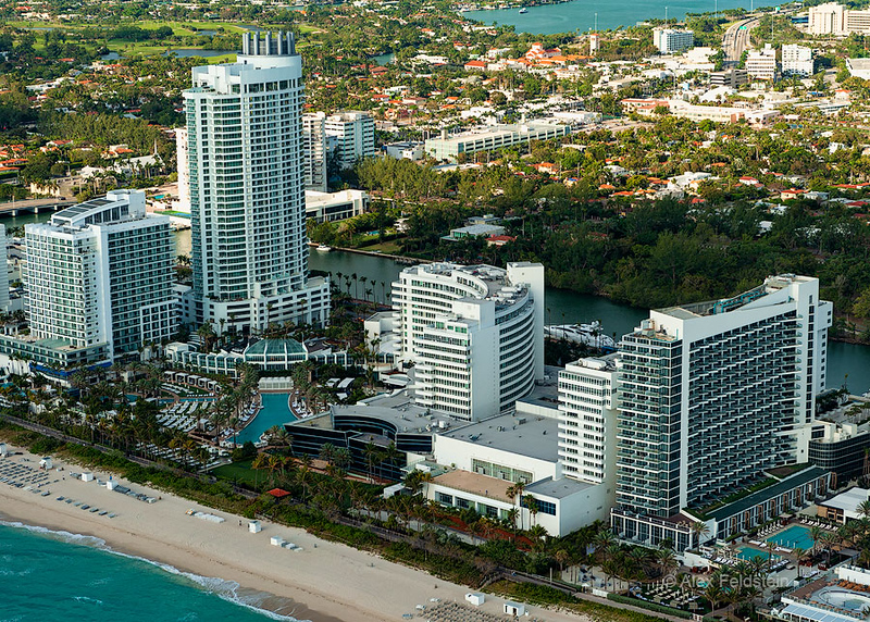 The Fontainebleau<br /> Miami Beach<br /> from a small airplane