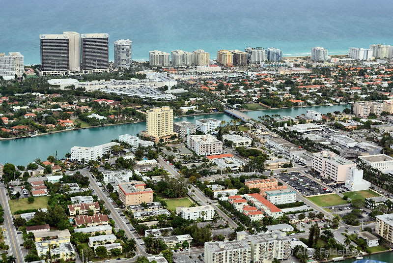 Bay Harbor Islands in front, Bal Harbour on the top left, the Town of Surfside on the top right. The big triangle is Bal Harbour Shops.