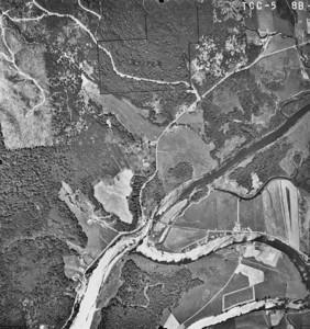 MacDonald Bridge near center, Nehalem Quarry Road starting at upper left corner. Taken 1965 for Crown Zellerbach Corporation.