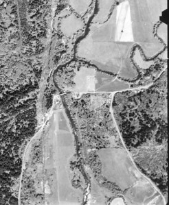 Aldervale Bridge (aka Scovill Bridge) near center of image. Taken 1960 for Tillamook County Assessor.