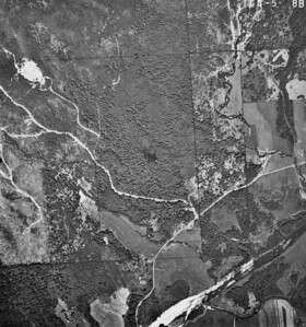 Junction of Nehalem Quarry Road and North Fork Road slightly right and below center of image. Taken 1965 for Crown Zellerbach Corporation.