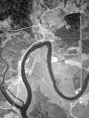 McDonald Bridge near bottom of image, Camp Four Road near top. Taken 1939 for U S Army Corps of Engineers.