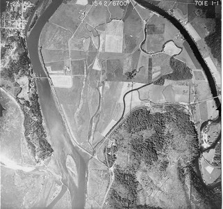 City of Nehalem at upper, Mohler bridge at far right. Taken 1950 for Crown Zellerbach Corporation.