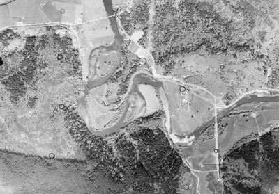 Mohler bridge near upper center, Miami-Foley bridge near lower right. Taken 1960 for Tillamook County Assessor.
