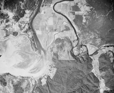 City of Nehalem and Nehalem Point near upper left, Miami-Foley Road near bottom right, Wheeler near bottom center. Taken 1950 for Crown Zellerbach Corporation.