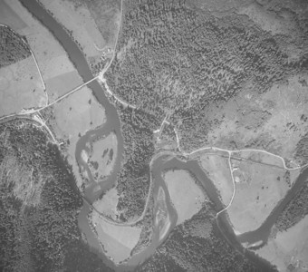 Mohler bridge upper left and Miami-Foley bridge lower right. Taken 1945 for Crown Zellerbach Corporation.