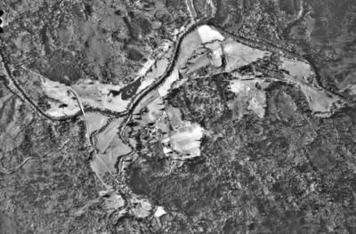 Miami-Foley Bridge at left center of image. Taken 1973 for Tillamook County Planning Department.