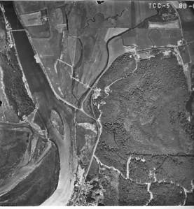 Highway 101 bridge at upper left of image, City of Wheeler at lower center. Taken 1965 for Crown Zellerbach Corporation.