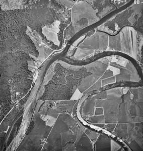 MacDonald Bridge at upper center, North Fork Nehalem River coming from upper right corner. Taken 1965 for Crown Zellerbach Corporation.