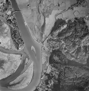 City of Wheeler at bottom of image, Highway 101 bridge near upper left. Taken 1963 for Crown Zellerbach Corporation.