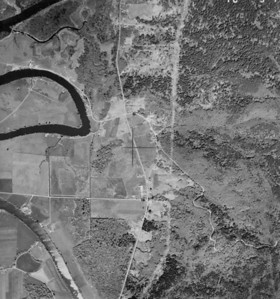 Camp Four road and junction of McDonald Road and Highway 53 near center of image. Taken 1960 for Crown Zellerbach Corporation.