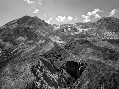 Loowit Falls and The Breach Aerial Black and White - Mount St  Helens