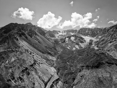 The Breach Aerial Black and White - Mount St  Helens