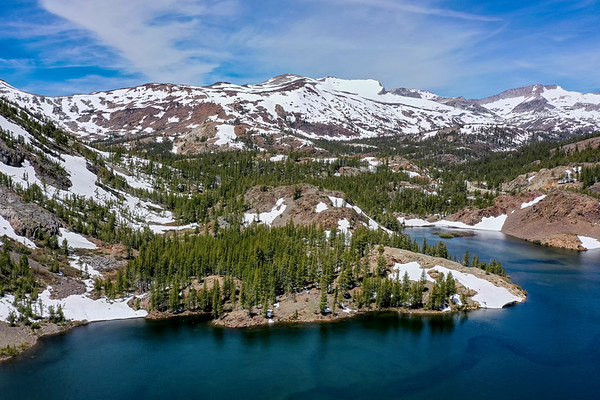 Ellery Lake and Tioga Pass Aerial - Ansel Adams Wilderness Yosemite