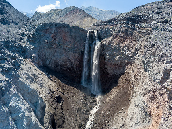 Loowit Falls Aerial - Mount St  Helens