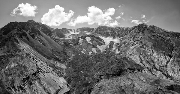 The Breach Aerial Panorama Black and White - Mount St  Helens