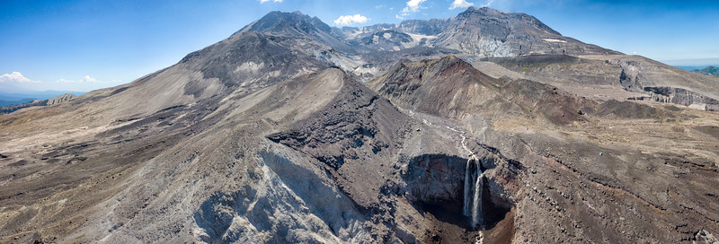 Loowit Falls and The Breach Aerial Panorama - Mount St  Helens-2