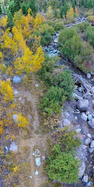 Deadman Creek Morning Fall Colors Panorama Aerial - Sonora Pass