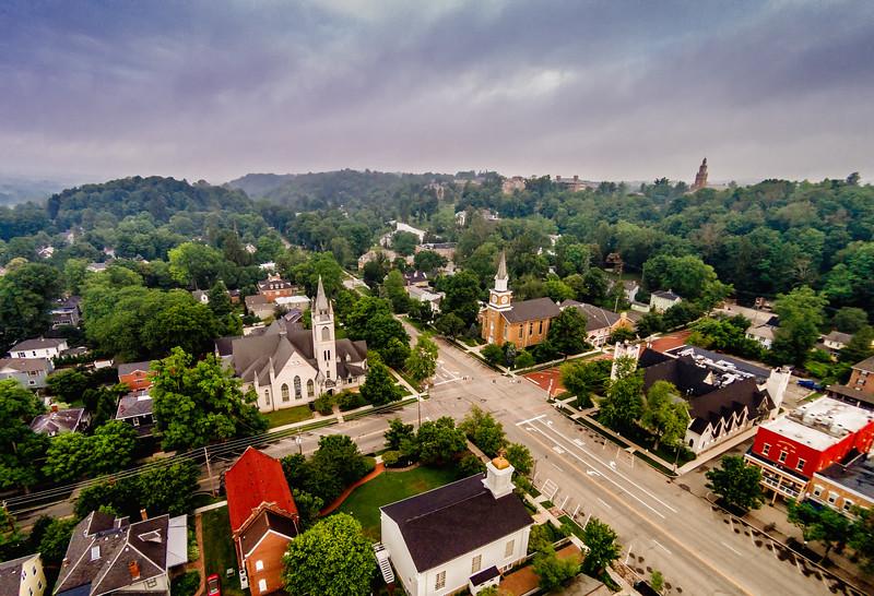 Granville Ohio 4 corner churches.