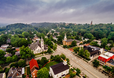 Granville Ohio Broadway and Main - Churches on each corner with Swasey Chapel Steeple Denison University in Background